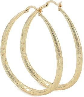 Women's 4mm Real 14K Gold Filled Big Tear Drop Hoop Earrings Medium Large Extra Large 40-70mm Diamond Cut Oval Shaped Ligh...