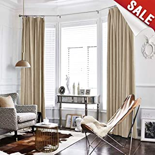 Velvet Curtain Beige Living Room Rod Pocket Window Curtain Panel 84 inch Long Bedroom Thermal 1 Panel