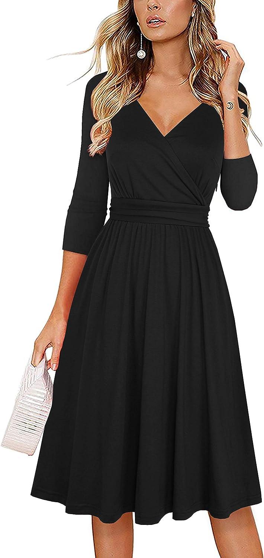 Drimmaks Women's Sleeveless Midi Party Dress V Neck Ruched Cotton Stretchy Midi Beach Summer Dresses