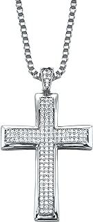 Palm Beach Jewelry Men's Silvertone Round Cubic Zirconia Cross Pendant (25mm) with 20 inch Chain