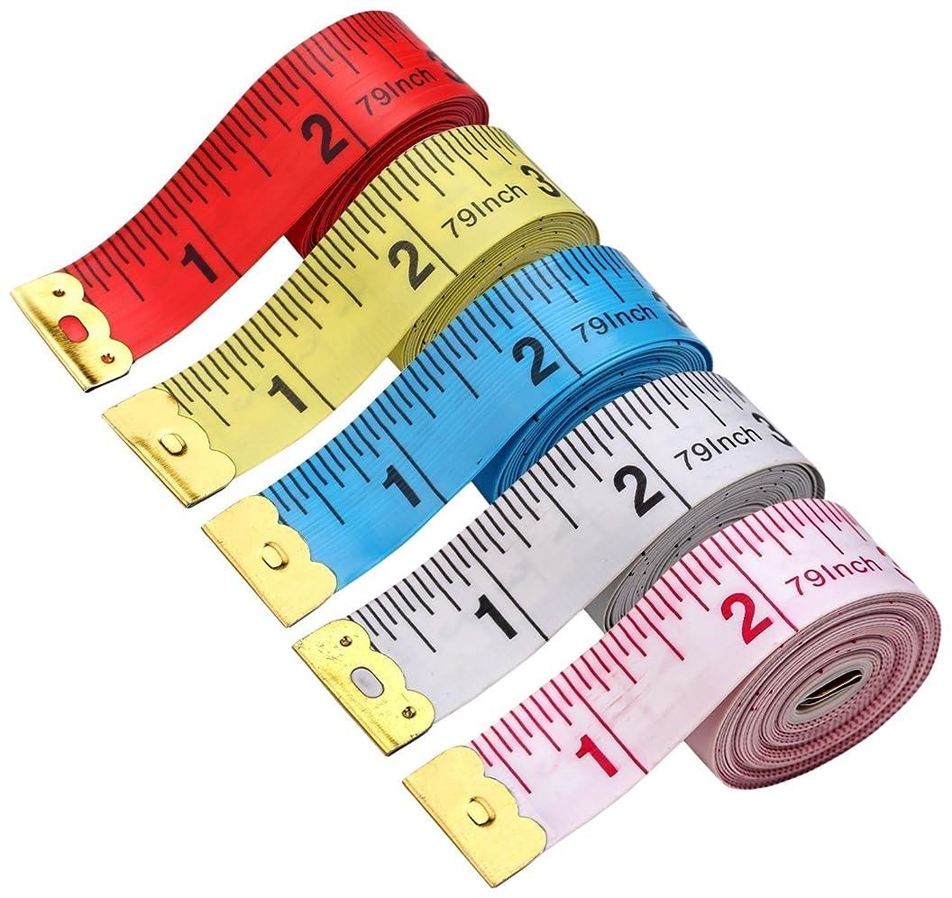 BUSHIBU 5 Piece Body Measuring Ruler Sewing Tailor Tape Measure Soft Flexible 79'' /200 cm Colorful sqivxetpcya93