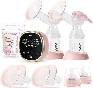 پمپ های پستان برقی NCVI دوتایی ، پمپ شیر دو شیردهی قابل حمل با 4 فلنج اندازه ، صفحه نمایش لمسی آینه ای آینه ای ، 4 حالت
