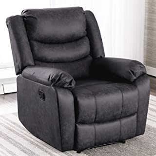 ANJ Recliner Chair with Overstuffed Arm and Back, Breathable Faux Leather Manual..
