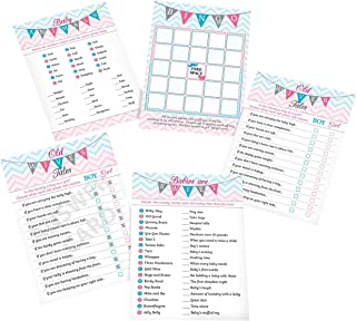 "Lillian Rose Pink & Blue Baby Gender Reveal Baby Shower 5"" x 7"" Game Cards"