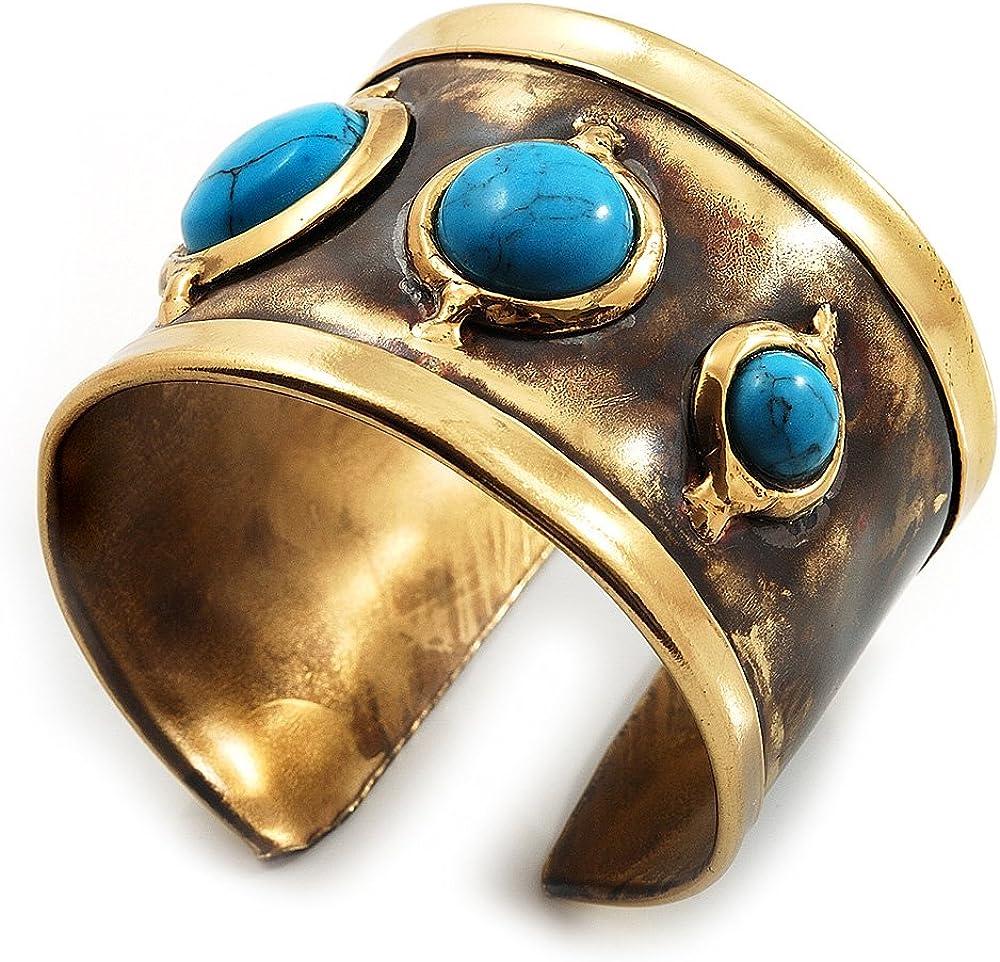 Avalaya Handmade - Antique Gold Finish Turquoise Stone Wide Ethnic Cuff - Adjustable
