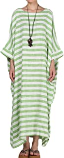 Women's Cotton Linen Dress Stripes Plus Size Dresses