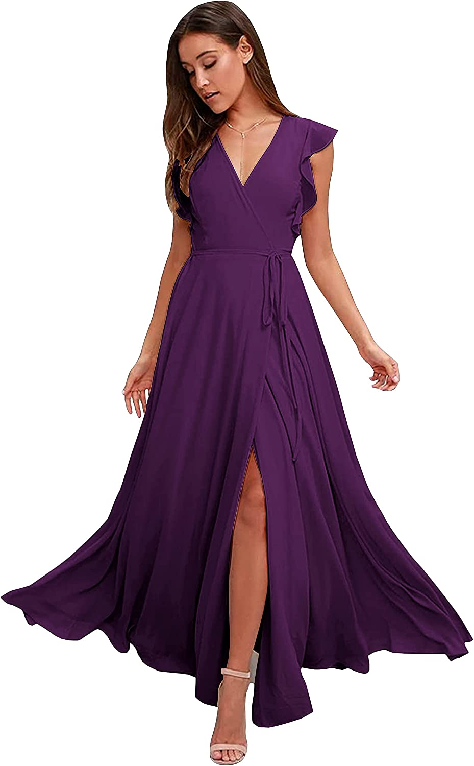ZMOVQA Women's V Neck Long Bridesmaid Dresses Chiffon Slit A Line Formal Evening Gowns with Ruffles Sleeves