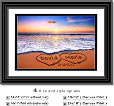 Love on Beach - Personalized artwork with Couple's Names and date on, wedding Anniversary gift, Valentine's Day gift.