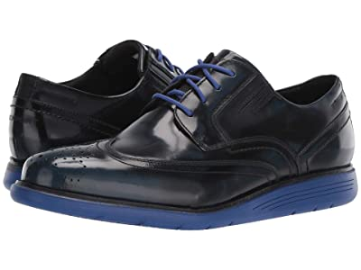Rockport Total Motion Sports Dress Wing Tip (New Dress Blues Box Leather) Men
