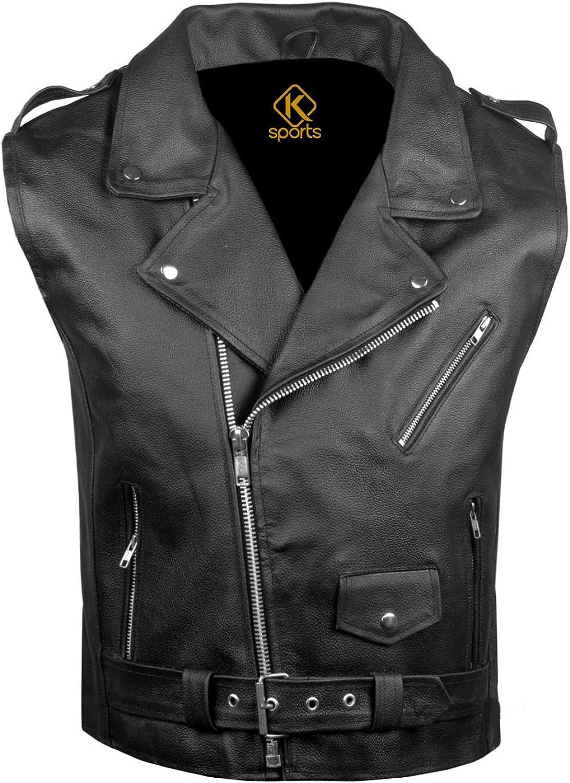 K Sports Mens Classic Leather Vest Biker Vest Concealed Carry Durable Vest Brando Style-M