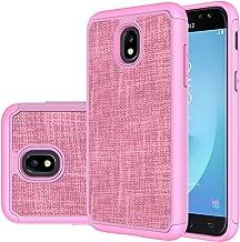 Samsung Galaxy J7 2018/Galaxy J7 V 2nd Gen/J7 Aero/J7 Top/J7 Aura/J7 Crown/J7 Refine/J7 Eon/J7 Star case, PUSHIMEI Hybrid Heavy PC TPU Leather Cover for Samsung SM-J737/J737V/J737T (Pink Denim)