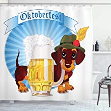 Ambesonne Festival Decorations Collection, Illustration of Dachshund Dog and A Pint of Beer on Striped Background, Polyester Fabric Bathroom Shower Curtain Set, 75 Inches Long, Blue Yellow Brown