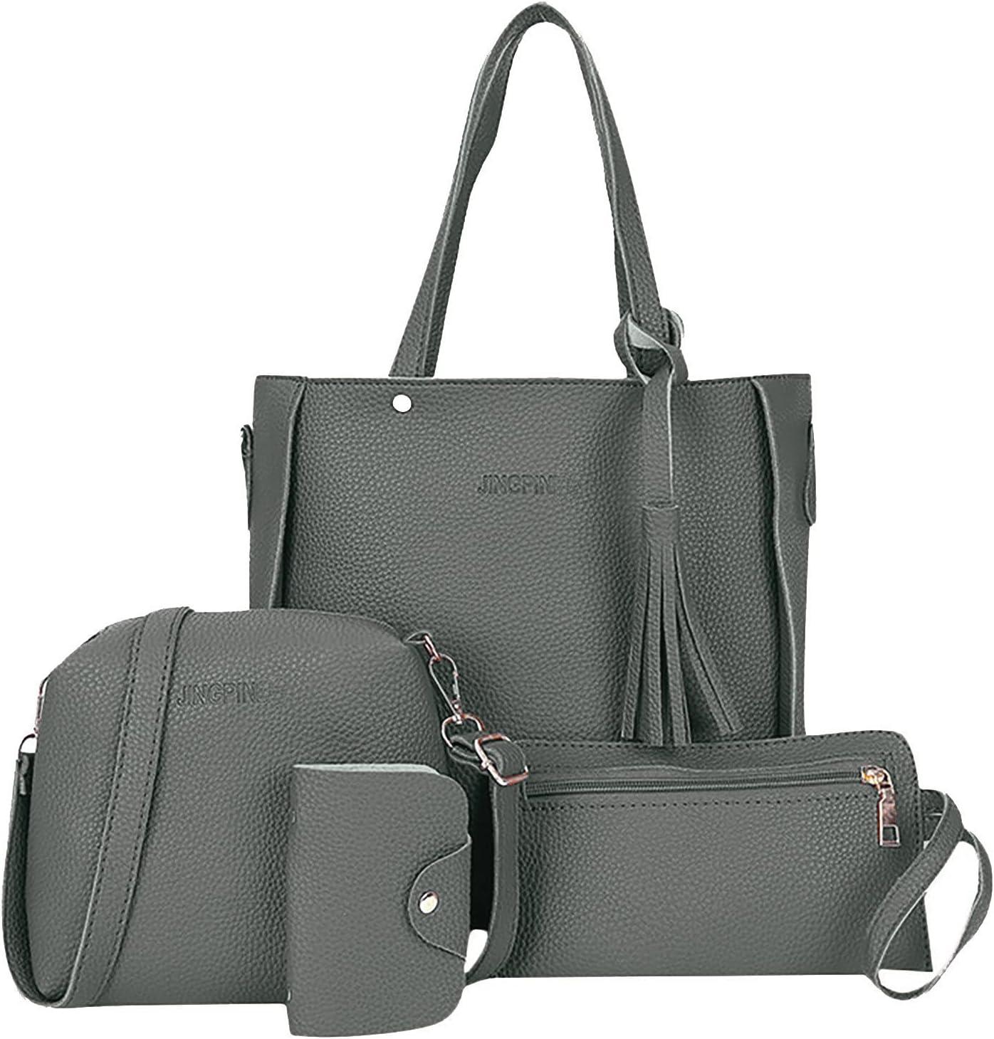 QIQIZAI Women's Handbag Set Four-Piece Multi-Purpose Travel Bag Vintage Leather Evening Party Bag Waterproof Messenger Bag