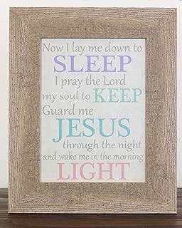 Now I Lay Me Down To Sleep Jesus Religious Chrildren's Baby Sign Decor Framed Art 13x16