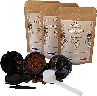 Capsules dolce gusto rechargeables, réutilisables compatibles avec les Machines Nescafé Pack de 3 dosettes 125g de Café Mo...