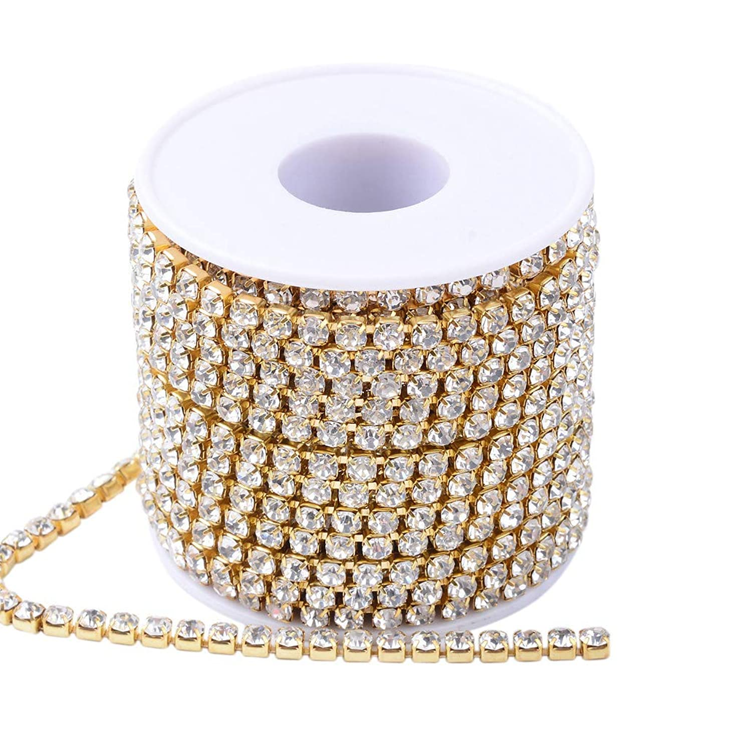 PH PandaHall 10 Yards Crystal Rhinestone Close Chain Clear Trimming Claw Chain Sewing Craft About 1960pcs Rhinestones, 4mm- Crystal (Brass Bottom)