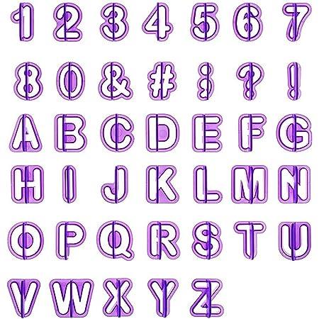 LIHAO 40pcs Emporte Pièce Lettres Alphabet Nombre Découpoirs pour Décoration Pate à Sucre, Biscuit, Gateau