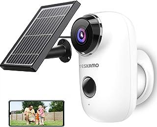 YESKAMO Cámara de Vigilancia WiFi Exterior Full HD 1080P con Batería Recargable Energia Solar Cámara Vigilancia IP WiFi Exterior con Audio Bidireccional y Detección Movimiento Panel Solar Incluido