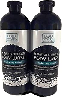 Dead Sea Collection Deep Activated Charcoal Body Wash with Dead Sea Minerals & Retinol LARGE 33.8 Oz (2 Pack)
