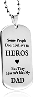 """LITTONE to DAD Dogtag Mens Pendant Necklace Stainless Steel Dog Tag Family Love Gift Words for Dad with 24"""" Wheat Chain (ALITIONEOO3-C)"""