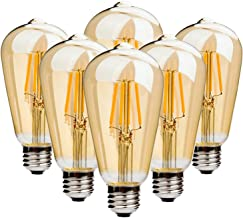 ST64 Vintage Edison Bulbs 60W Equivalent Dimmable Filament Bulbs E27 Screw LED Energy Saving Light 220V 6W 2700K Warm Whit...