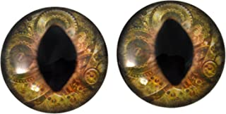 40mm Brown Steampunk Cat or Dragon Large Glass Eyes for Doll Making Jewelry Designs Scrapbooking Embellishments taxidermy Art Sculptures Costumes Cosplay and More