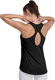 YUWZZ Workout Tops for Women Yoga Tops Running Tank Tops Gym Exercise Athletic Racerback Sports Shirts