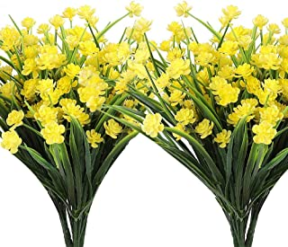 AGEOMET 8 Bundles Artificial Flowers Outdoor Fake Greenery UV Resistant Shrubs Plants Plastic Flowers Faux Flora Greenery Bushes for Home Garden Indoor Outside Decor(Yellow)