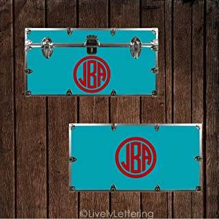 Camp Trunk Monogram Circle Frame Decal Dorm Trunk Decal Footlocker Sticker Vinyl Lettering
