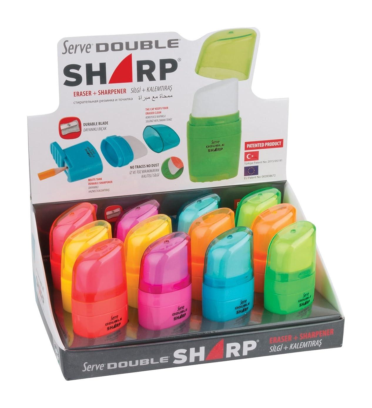 Serve SV D. SHARP1?2KTFR Double Sharp Eraser & Sharpener in one Body, 12?pcs in paperbox Eraser & Sharpener in one Body Mix Fluorescent Colours