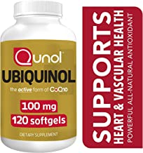 Qunol 100mg Ubiquinol, Powerful Antioxidant for Heart & Vascular Health, Essential for Energy Production, Natural Supplement Active Form of Coq10, 120 Count
