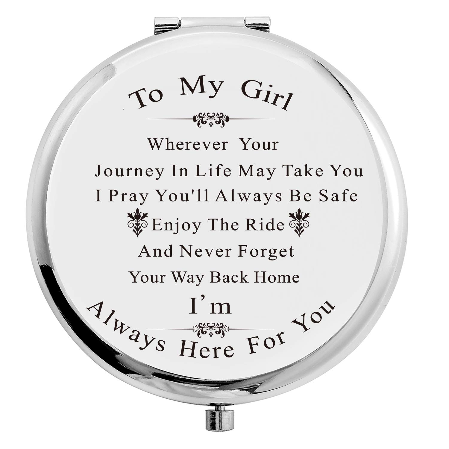 Forest Kiss Daughter Gifts Silver Fixed price for NEW before selling sale Stainless Makeup Steel Compact