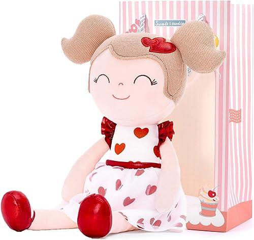 Gloveleya Cadeaux pour bébé poupée Douce Poupées de Chiffon en Peluche Coeur Rouge Plus de 0 Ans