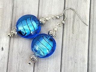 Orecchini Venezia in acciaio inox con perle piatte in vetro di Murano blu