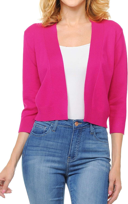 Urban Look Women's Basic 3/4 Sleeve Open Front Light Weight Sweater Cardigan
