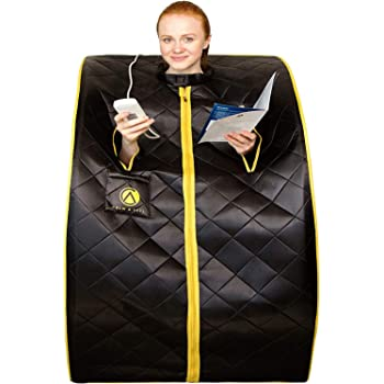 "Crew & Axel Infrared Sauna Individual Home Spa - Indoor Portable Sauna Set Includes a Heating Foot Pad & Chair Obsidian Black Size Large (L 27.5"" x W 33"" x H 38"")"
