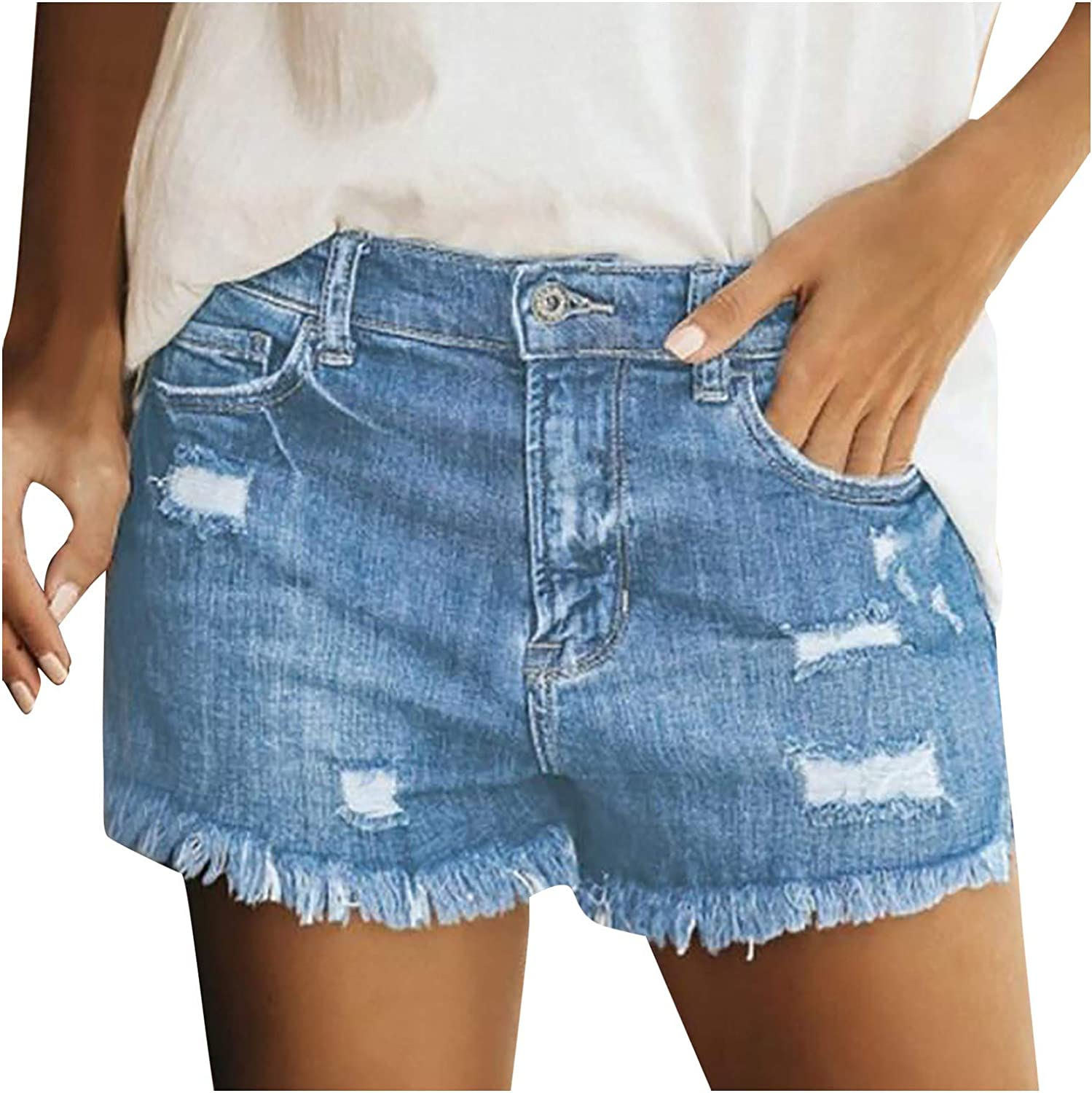 Denim Shorts for Women,Shorts for Women Jean Shorts Stretchy Frayed Raw Hem Hot Short Jeans with Pockets