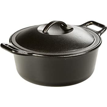 Lodge Pro-Logic 4 Quart Cast Iron Dutch Oven. Pre-Seasoned Pot with Self-Basting Lid and Easy Grip Handles