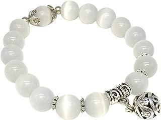 100/% Naturel Femme Rose Oeil de Chat Pierre Perle Perles Bracelet Jonc taille 60 mm