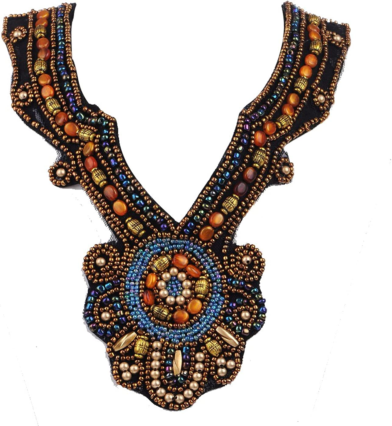 Alilang Chunky Colorful Ethnic Festival Tribal Beaded Bib Collar Choker Costume Necklace