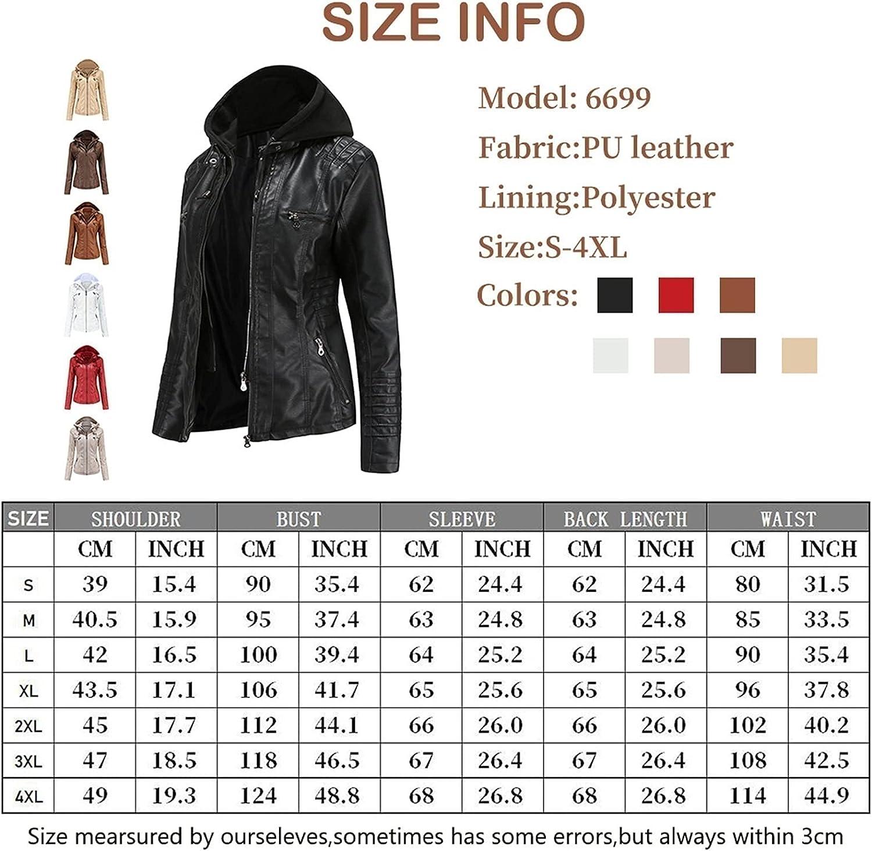 Women's Faux Leather Motorcycle Jacket Leather Jacket Vintage Slim Hooded Short Coat - Autumn Winter (Color : White, Size : 6X-Large)