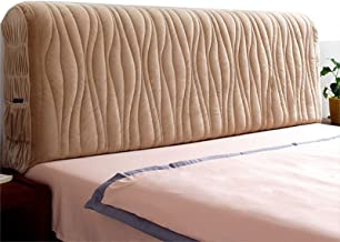 Home Bed Headboard Slipcover Stretch Solid Color Flannel with Brown