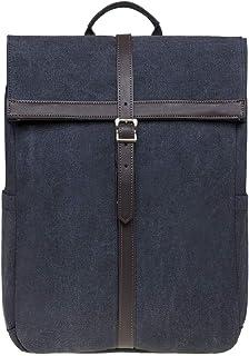 KAUKKO Roll Top Rucksack Canvas Lässiger Tagesrucksack Laptop Schulrucksack fit 14 Notebook für Herren Damen, 30  15  40 cm, 18L Schwarz JNL-KS13-2-03