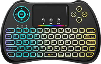 (Upgraded Version) Aerb 2.4GHz Colorful Backlit Mini Wireless Keyboard with Mouse..