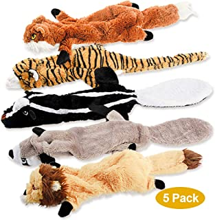 FIREOR Dog Squeaky Toys, No Stuffing Plush Pet Chew Toy for Small Medium Large Puppy, 5 Pack Two Squeaky Cute Animals (Raccoon Squirrel Tiger Fox and Lion)