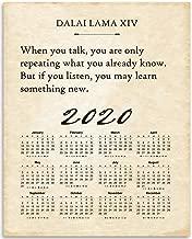 2020 Calendar - Dalai Lama XIV - When You Talk But If You Listen - 11x14 Unframed Calendar Art Print - Great Home Calendar and Motivational/Inspirational Quote, Also Makes a Great Gift Under $15
