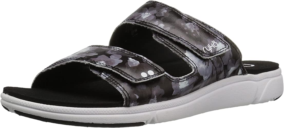 Ryka Wohommes Marilyn Slide Sandal, noir blanc, 6.5 M US