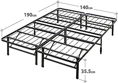 Sommier SmartBase déjà monté 35 cm ZINUS | Cadre de lit plateforme en métal | Facile à monter | Rangement sous le lit | 140 x 190 cm | Noir
