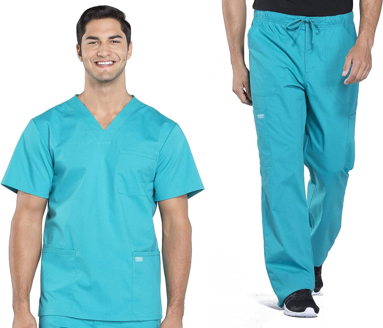 Workwear Professionals Men Scrubs Set V-Neck Top WW695 & Drawstring Pant WW190 (Teal Blue, 2XL / XXL)