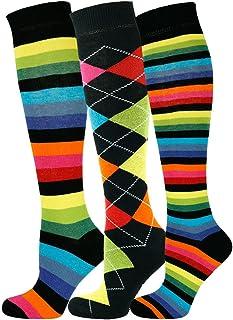 3 pares de calcetines altos unisex con diseño Multi de la rodilla y algodón peinado extrafino 3 pares de diseño múltiple